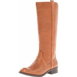White Mountain Cognac leather zip Law riding boots